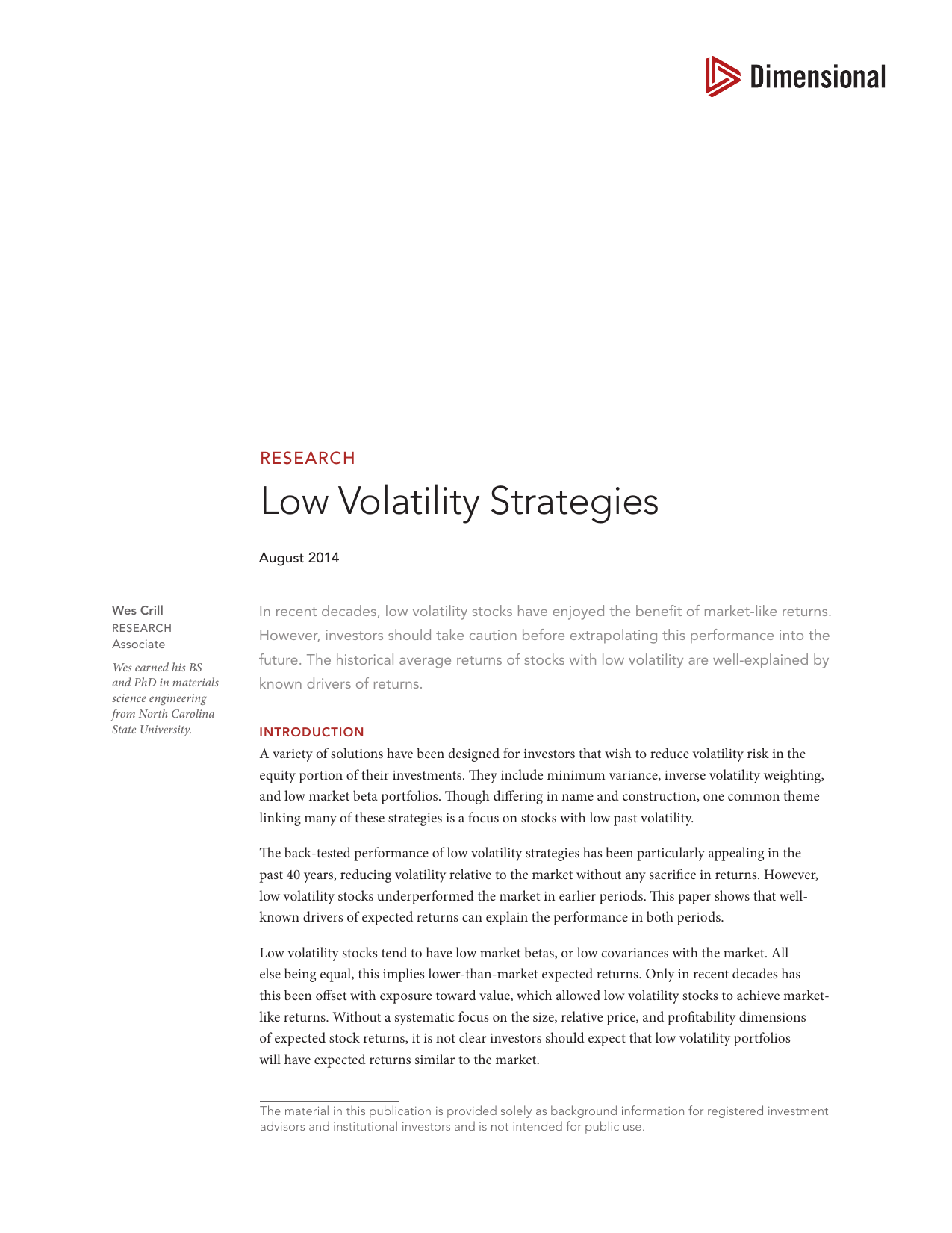 Low Volatility Strategies