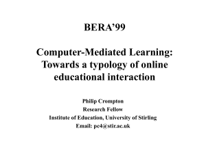 Computer-Mediated Learning: Towards a Typology of