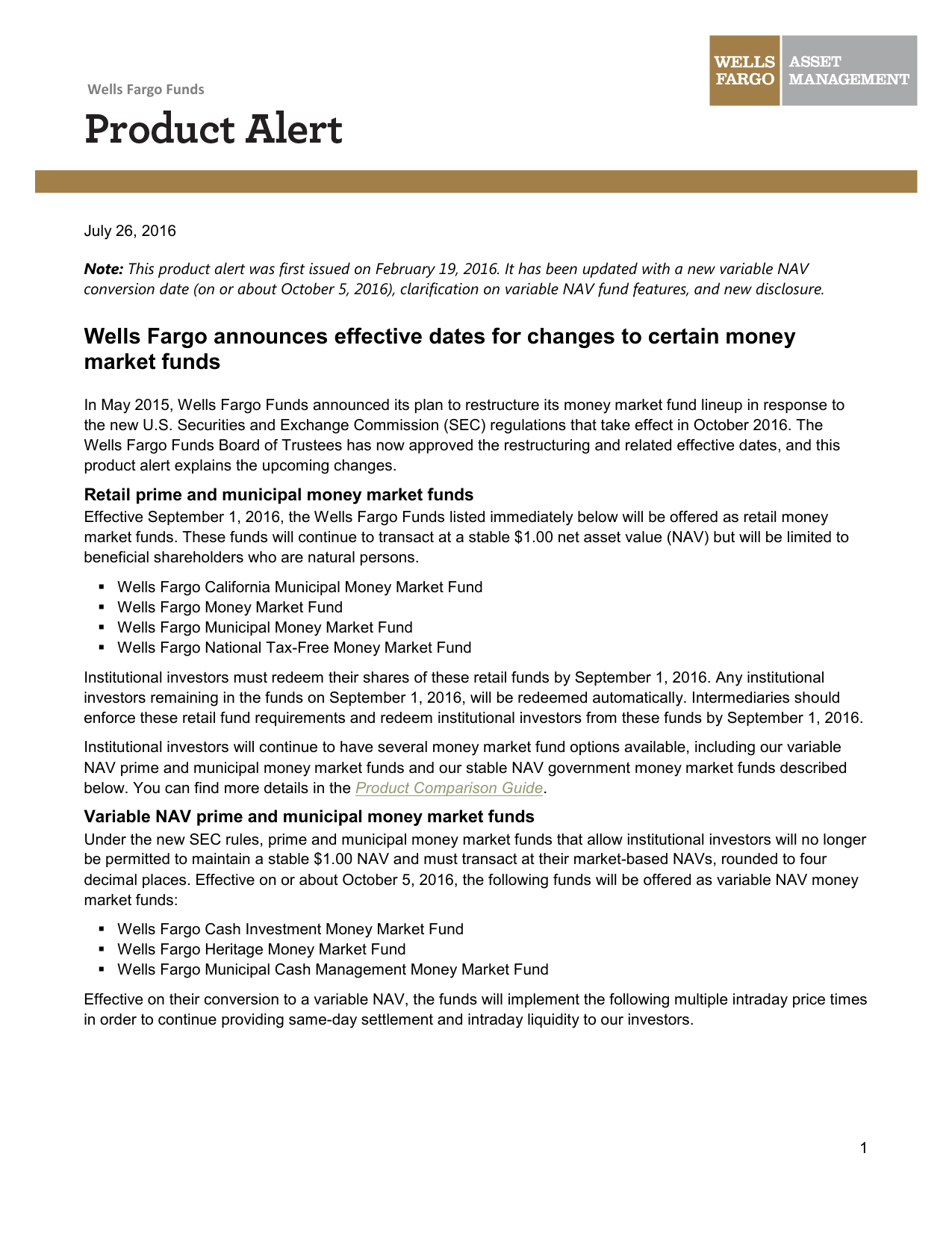 Wells Fargo announces effective dates for changes to certain