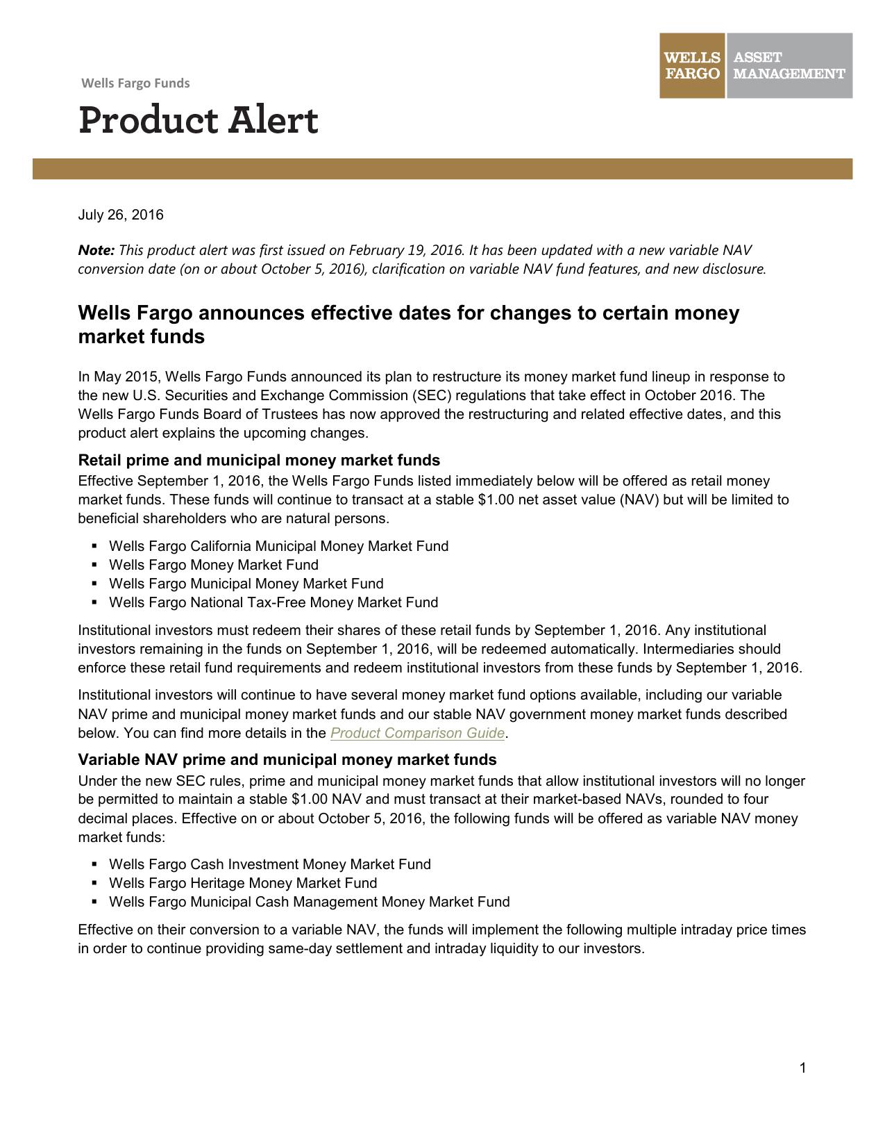 Wells Fargo announces effective dates for changes to certain money
