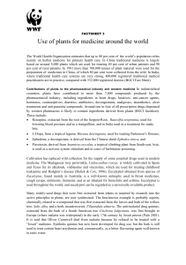 Use of plants for medicine around the world