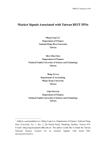 Market Signals Associated with Taiwan REIT IPOs