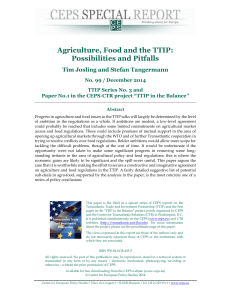 Agriculture, Food and the TTIP: Possibilities and Pitfalls