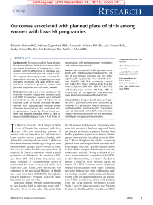 Outcomes associated with planned place of birth among women