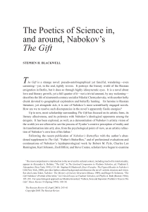The Poetics of Science in, and around, Nabokov`s The Gift