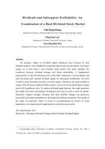 Dividends and Subsequent Profitability: An Examination of a Dual