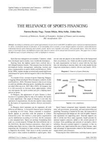 the relevanCe of sPorts finanCing