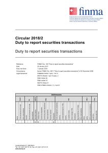 Circular 2018/2 Duty to report securities transactions Duty to