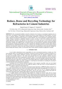 Reduce, Reuse and Recycling Technology for