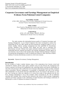 Corporate Governance and Earnings Management