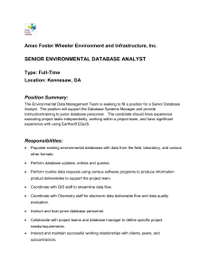 Kennesaw, GA – Senior Environmental Database Analyst