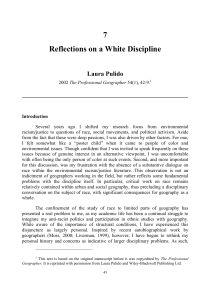 7 Reflections on a White Discipline
