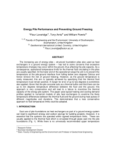 Energy Pile Performance and Preventing Ground