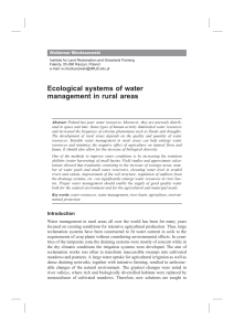Ecological systems of water management in rural areas