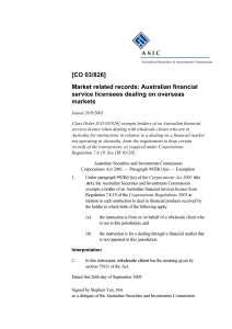 [CO 03/826] Market related records: Australian financial