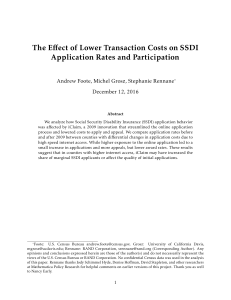 The Effect of Lower Transaction Costs on SSDI