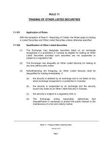 CSE RULE 11 – Trading of Other Listed Securities