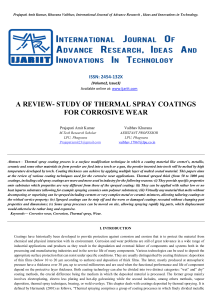 a review- study of thermal spray coatings for corrosive wear