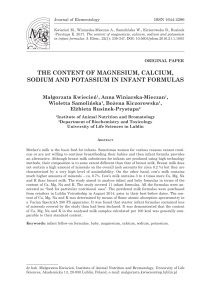 the content of magnesium, calcium, sodium and potassium in infant