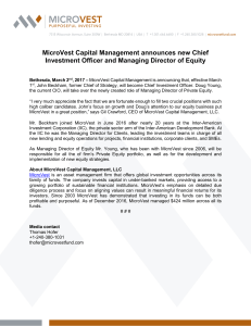 MicroVest announces new CIO and MD Equity