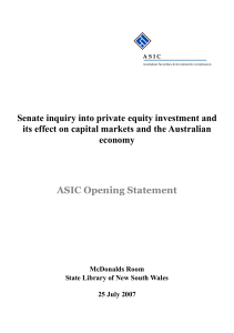 Senate inquiry into private equity investment
