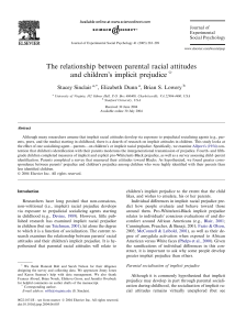 The relationship between parental racial attitudes and children`s