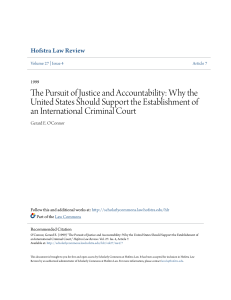 The Pursuit of Justice and Accountability: Why the United States