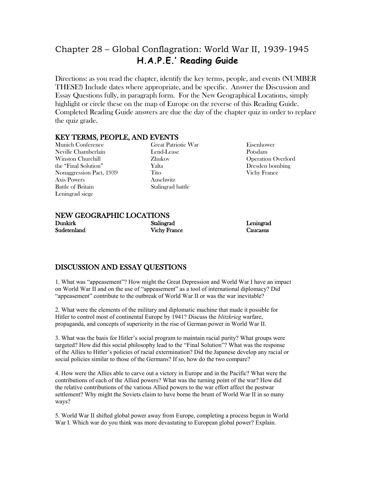world war 2 essay questions