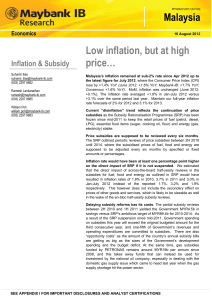 Malaysia Low inflation, but at high price…