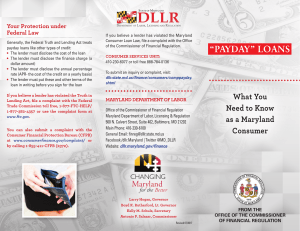 """payday"" loans - Maryland Department of Labor, Licensing and"