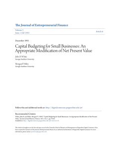 Capital Budgeting for Small Businesses