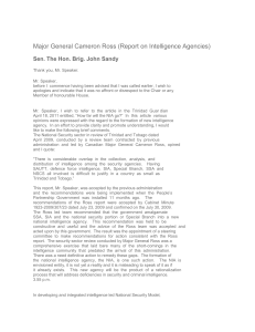 Major General Cameron Ross (Report on Intelligence Agencies)