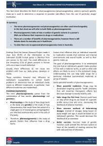 Fact Sheet 21 | PHARMACOGENETICS/PHARMACOGENOMICS