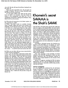 Khomeini`s Secret SAVAMA Is the Shah`s SAVAK