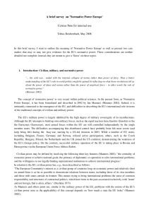A brief survey on `Normative Power Europe` Celsius Note for internal