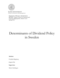 Determinants of Dividend Policy in Sweden