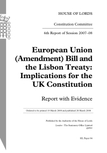 European Union (Amendment) Bill and the Lisbon Treaty