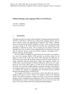 Political Ideology and Language Policy in North Korea