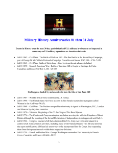 Military History Anniversaries 0701 thru 0731