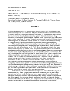 A Content analysis of environmental security studies within the U.S.