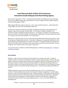 Israel Discount Bank of New York Announces Investment Grade