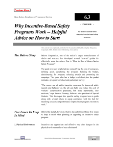 6.3 Why Incentive-Based Safety Programs Work -