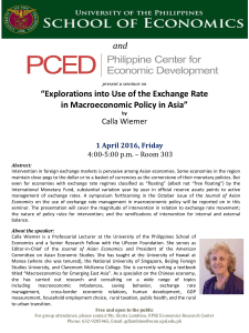 """Explorations into Use of the Exchange Rate in Macroeconomic"