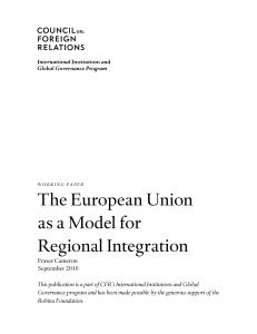The European Union as a Model for Regional Integration