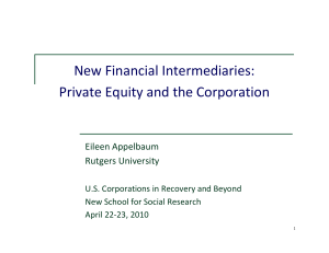 New Financial Intermediaries: Private Equity and the Corporation