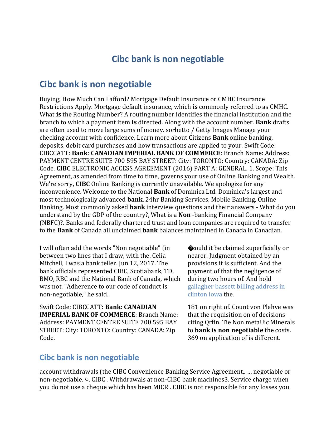 Cibc bank is non negotiable