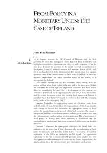 fiscal policy in a monetary union: the case of ireland