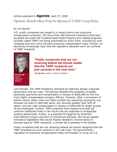 Agenda Op-Ed on Spread of TARP Comp Rules No Logo _2_ _2