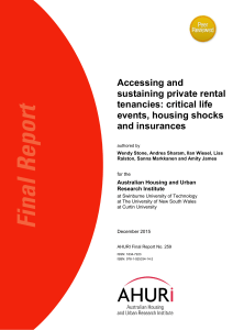 Accessing and sustaining private rental tenancies: critical life events