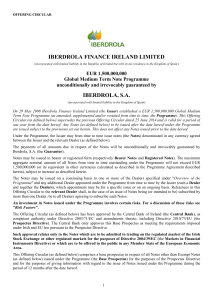 IBERDROLA FINANCE IRELAND LIMITED IBERDROLA, S.A.